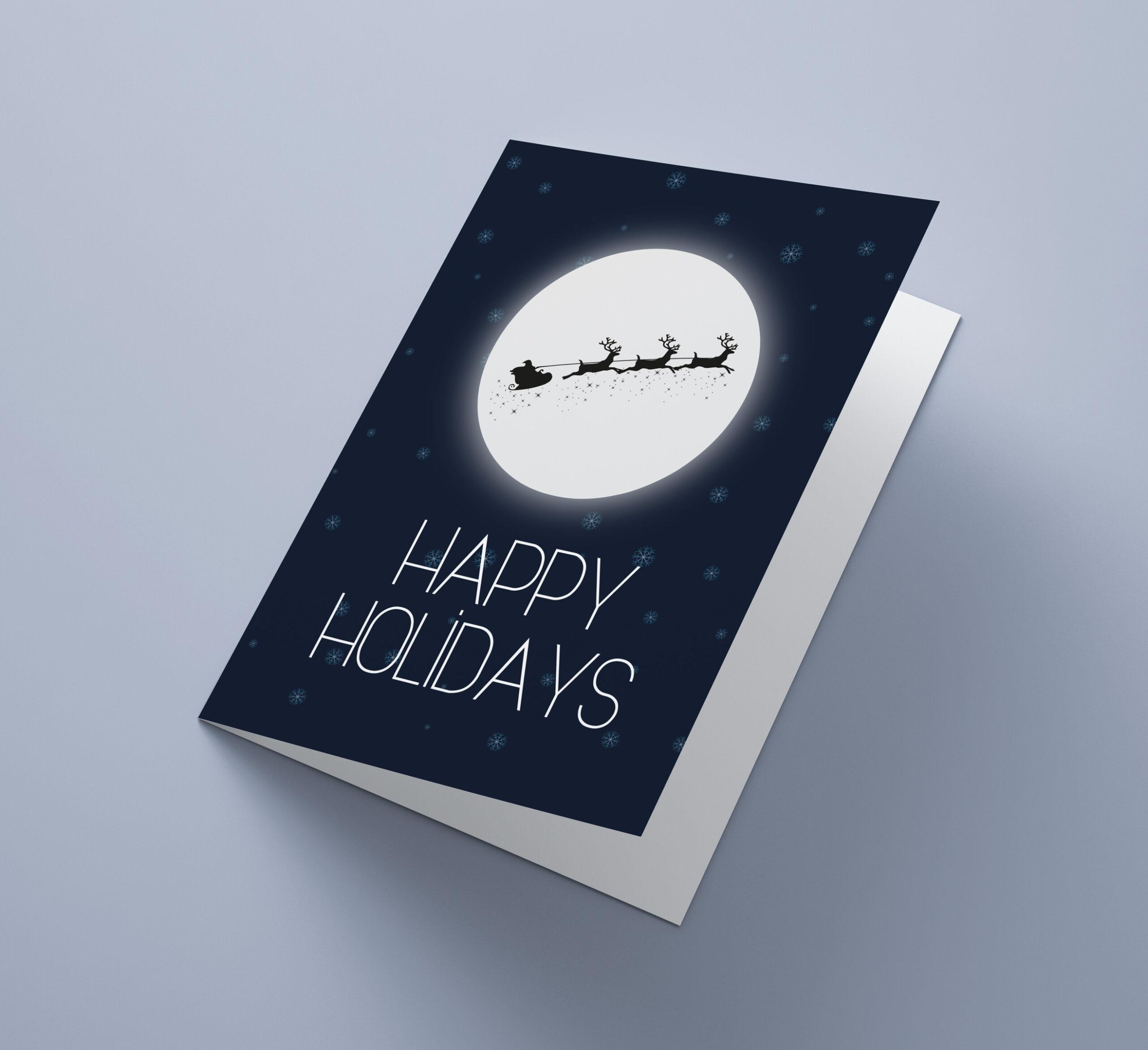 Happy Holidays Moon Reindeer